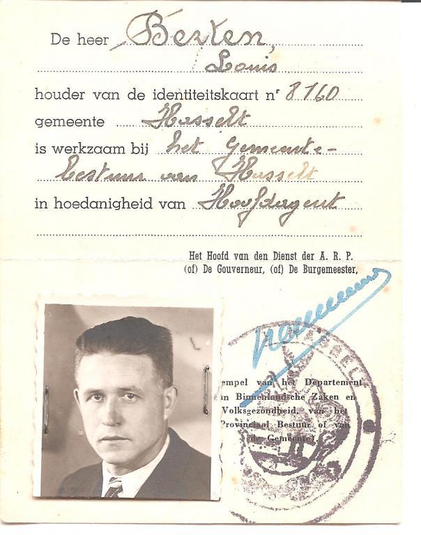Politiekaart van Louis Berten, 1943, recto (uit: privécollectie)