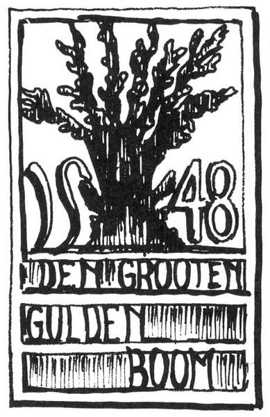 Uithangteken 'Den Grooten Gulden Boom', tekening, J.P. Proesmans (uit: Hasselt intra muros (1989), p. 204)