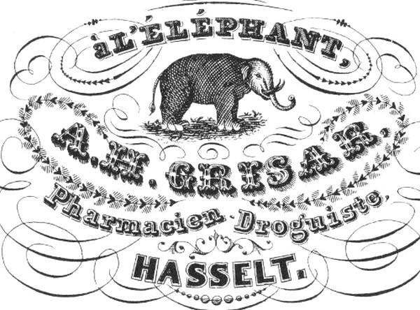 Advertentie van apotheker Antoine Hubert Grisar, midden 19de eeuw (uit: Hasselt intra muros (1989), p. 68)