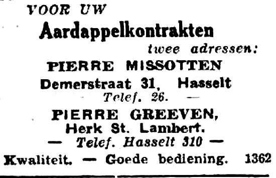 Advertentie 'Voor uw aardappelkontrakten twee adressen Pierre Missotten Hasselt & Pierre Greeven Herk St. Lambert' (uit: Het Belang van Limburg, 02-06-1946, p. 6)