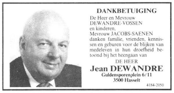 Dankbetuiging na overlijden van Jean Dewandre (uit: Het Belang van Limburg, 24-09-1988, p. 6)