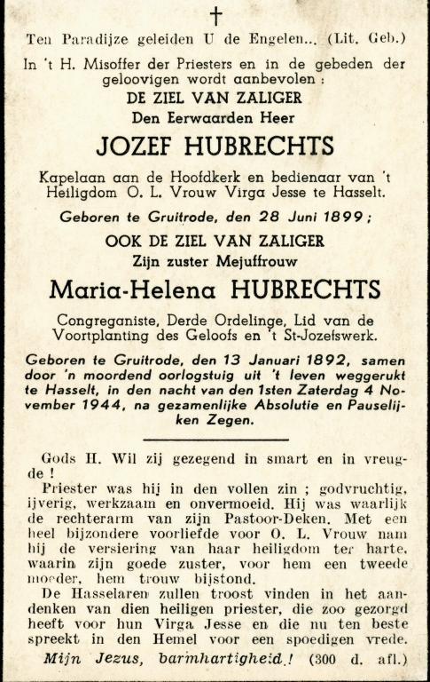 Doodsprentje (kz) E.H. Hubrechts en Maria-Helena Hubrechts, 1944 (privécollectie Dominique Creyns)