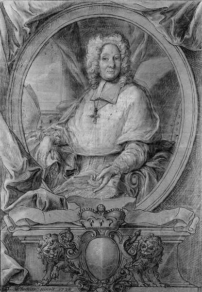 Portret prins-bisschop Joris Lodewijk van Beieren (1662-1744), 1728, Emond Plumier (uit: Wikipedia - Collectie Cabinet des estampes et des dessins de la Ville de Liège)