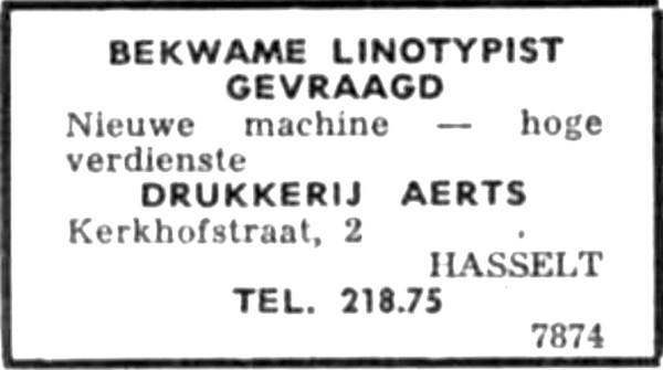 Advertentie 'Drukkerij Aerts', Kerkhofstraat 2 (uit: Het Belang van Limburg, 18-09-1966, p. 24)