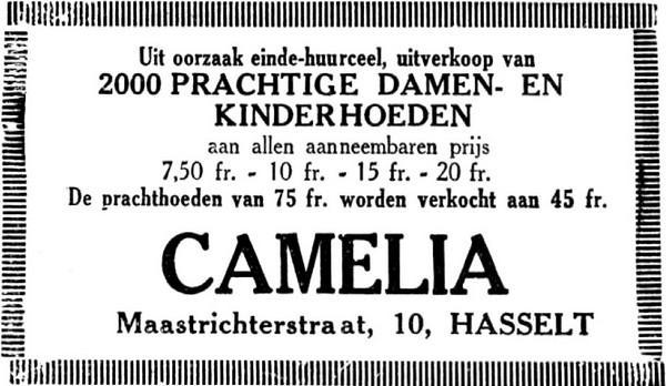 Advertentie 'Hoedenwinkel Camelia', Maastrichterstraat 8 (uit: Het Belang van Limburg, 01-10-1936, p. 5)