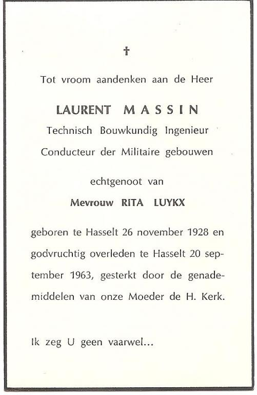 Doodsprentje Laurent Massin (1928-1963) (uit: privécollectie)