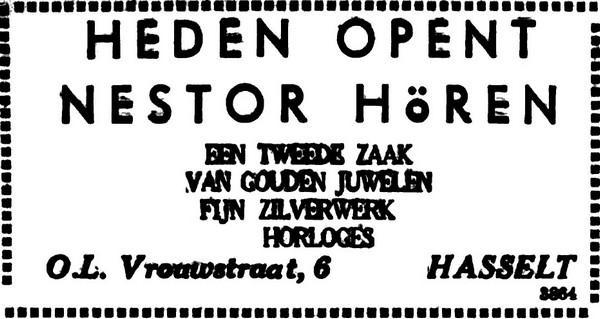 Advertentie 'Heden opent Nestor Hören een tweede zaak', Onze-Lieve-Vrouwstraat 6 (uit: Het Belang van Limburg, 28-11-1953, p. 6)