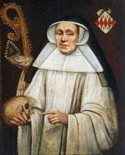 Olieverfportret Catharina van Schoonbeeck, abdis Herkenrode (1447-1456) (collectie Het Stadsmus Hasselt - buikleen Grauwzusters Hasselt)