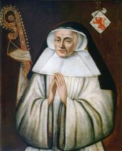 Olieverfportret Aleidis de Lechy, abdis Herkenrode (1548-1561) (collectie Het Stadsmus Hasselt - buikleen Grauwzusters Hasselt)