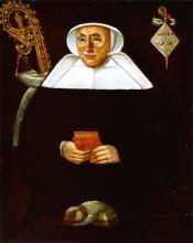 Olieverfportret Catharina van Goor, abdis Herkenrode (1561-1579) (collectie Het Stadsmus Hasselt - buikleen Grauwzusters Hasselt)