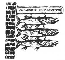 Uithangteken 'De Groote Dry Snoecken', tekening J.P. Proesmans (uit Hasselt intra muros (1989), p. 224)