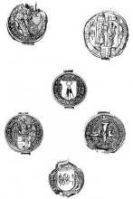 Afgietsel van enkele ambachtszegels van de stad Hasselt (collectie Rijksarchief Hasselt)