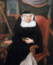 Olieverfportret Anne de Croy, abdis Herkenrode (1744-1772) (collectie Het Stadsmus Hasselt - buikleen kerkfabriek Sint-Gertrudis Kuringen)