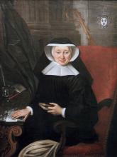 Olieverfportret Barbara de Rivière d'Arschot, abdis Herkenrode (1728-1744) (collectie Het Stadsmus Hasselt - buikleen kerkfabriek Sint-Gertrudis Kuringen)