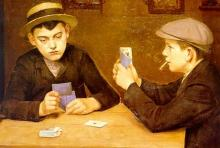 De kaartspelers, olieverf, Frédéric Bas (1870-1927) (collectie Het Stadsmus Hasselt)