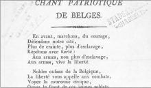 Chant Patriotique des Belges, gedrukt door Gaspar Belboom in 1830 (uit: Drukkend Hasselt (2003), p. 10)