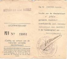 Politielegitimatiebewijs van Louis Berten uit 1942, recto (uit: privécollectie)