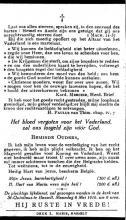 Doodsprentje Maurice Biernaux (1893-1914), druk L. Maris Hasselt, keerzijde (privécollectie)