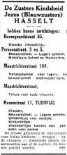 Advertentie 'De Zusters Kindsheid Jezus (Blauwzusters) Hasselt' (uit: Het Belang van Limburg, 22-03-1936, p. 4)