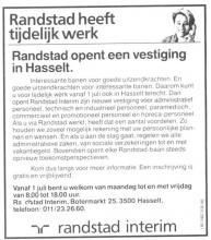 Advertentie 'Randstad Interim', Botermarkt 25 (uit: Het Belang van Limburg, 22-06-1991, p. 56)
