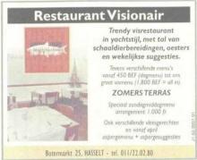 Advertentie 'Restaurant Visionair', Botermarkt 25 (uit: Het Belang van Limburg, 17-06-2000, p. 94)
