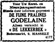 Advertentie 'De Lekkerbek', Botermarkt 9 (uit: Het Belang van Limburg, 30-12-1951, p. 4)
