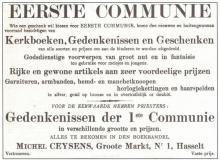 Publiciteit voor de winkel van Michiel Ceysens in de kolommen van De Onafhankelyke, 25 maart 1908 (uit: Drukkend Hasselt (2003), p. 23)