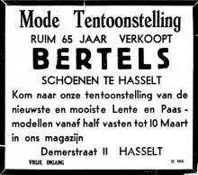Advertentie 'Ruim 65 jaar verkoopt Bertels schoenen te Hasselt', Demerstraat 11 (uit: Het Belang van Limburg, 03-03-1951, p. 8)