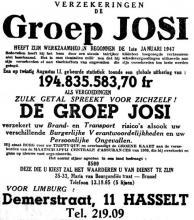 Advertentie 'Groep Josi', Demerstraat 11 (uit: Het Belang van Limburg, 20-12-1953, p. 11)