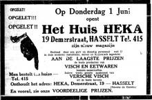 Advertentie 'Vis- en eetwarenwinkel HEKA, Demerstraat 19' (uit: Het Belang van Limburg, 27-05-1933, p. 8)