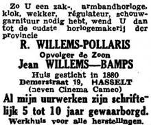 Advertentie 'Huis Jean Willems-Bamps, Demerstraat 19' (uit: Het Belang van Limburg, 09-11-1947, p. 8)