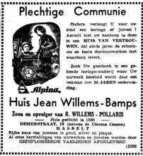Advertentie 'Huis Jean Willems-Bamps, Demerstraat 19' (uit: Het Belang van Limburg, 16-04-1955, p. 8)