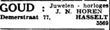 """Advertentie 'Juwelen - horloges J.N. Hören"""", Demerstraat 77 (uit: Het Belang van Limburg, 27-11-1949, p. 4)"""