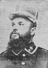 Majoor Leynen, de chef van de Hasseltse Garde Civique.(uit: Dat was de Garde Civique (V) / Wanneer te Hasselt de Trommels roffelden (1954))