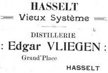 Advertentie 'Distillerie Edgar Vliegen', Hoogstraat 2 (uit: brochure De Ware Vrienden, 1913)