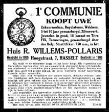 Advertentie 'Huis R. Willems-Pollaris', Hoogstraat 7 (uit: Gazet van Genck en Omstreken, 08-03-1926, p. 3)