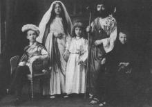 Virga Jessefeesten 1912. Op dit prachtig document zie je de vijf kinderen uit het Hasseltse gezin Proesmans. (uit: Familie in 1912 (1975))