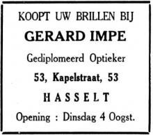 Advertentie 'Opening Optiek Gerard Impe', Kapelstraat 53 (uit: Het Belang van Limburg, 02-08-1936, p. 3)