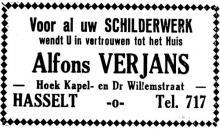 Advertentie 'Schilderwerk Alfons Verjans', Kapelstraat 57 (uit: Het Belang van Limburg, 04-07-1936, p. 12)