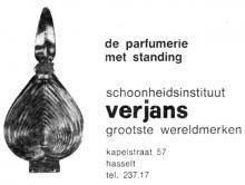 Advertentie 'Schoonheidsinstituut - Parfumerie Verjans', Kapelstraat 57 (uit: Het Belang van Limburg, 16-12-1971, p. 24)