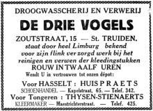 Advertentie 'Droogwasserij en ververij De Drie Vogels Sint-Truiden - depot Hasselt: schoenhandel Praets', Kapelstraat 57 (uit: Het Belang van Limburg, 20-03-1935, p. 6)