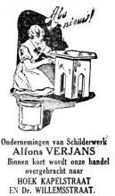 Advertentie 'Schilderwerk Alfons Verjans naar hoek Kapelstraat en Dr. Willemsstraat', Kapelstraat 57 (uit: Het Belang van Limburg, 01-03-1936, p. 7)