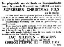 Advertentie 'Jac. Gilissen-Brauns, depothouder van de Brouwerij van Haacht', Kempische Steenweg 112 (uit: Het Belang van Limburg, 25-12-1952, p. 11)