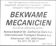 Advertentie 'Autocarbedrijf St.-Catharina Cars n.v. - Internationaal Transport Sicatra n.v.', Kiewitstraat 192 (uit: Het Belang van Limburg, 24-02-1990, p. 62)