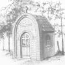 Kapel van de Heilige Apollonia (Appolonia), geaquarelleerde tekening, F. Verbiest, gedateerd 1988 (uit: 1849-1989 Godsheide (1988), p. 49)