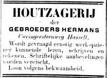 Advertentie 'Houtzagerij der Gebroeders Hermans', Kuringersteenweg (uit: Het Algemeen Belang der Provincie Limburg, 06-12-1905, p. 4)