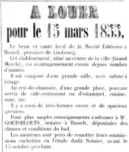 Advertentie 'A louer pou le 15 Mars 1855 le beau et vaste local de la Société Littéraire à Hasselt (...)', Gote Markt - Koning Albertstraat (uit: Le Constitutionnel, nr. 19, 20-08-1854)