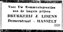 Advertentie Drukkerij Jean Lisens, Demerstraat (uit: Het Belang van Limburg, 19-04-1953, p. 11)