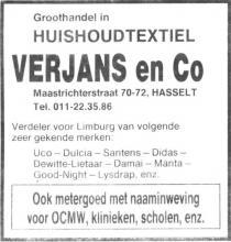 Advertentie 'Groothandel huishoudtextiel Verjans en Co', Maastrichterstraat 70-72 (uit: Het Belang van Limburg, 11-05-1983, p. 23)