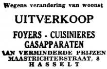Advertentie 'Uitverkoop Foyers-Cuisinières Gasapparaten', Maastrichterstraat 8 (uit: Het Belang van Limburg, 09-12-1954, p. 6)
